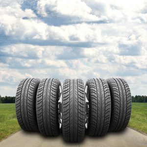 Line of tyres on a road