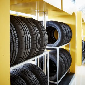 New car tires in a row stored in a row
