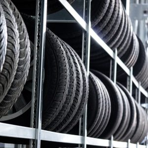 Tyres in warehouse racking