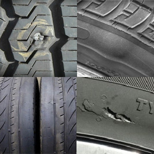 4 images of tyre damage in a collage