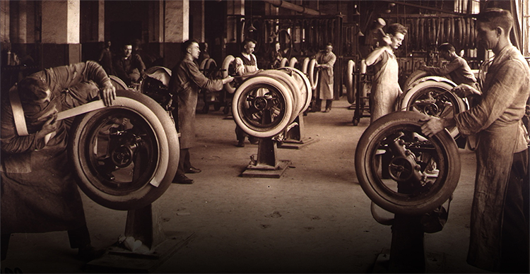 An old photo of mechanics testing continental tyres