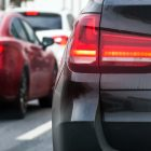 rear view of a car with brake lights on